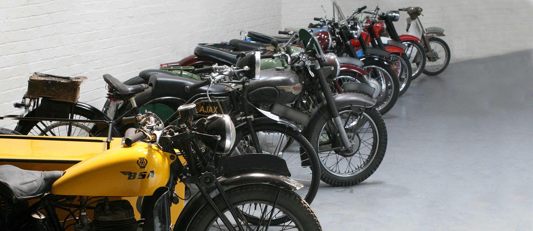 Vintage motorcycles in museum